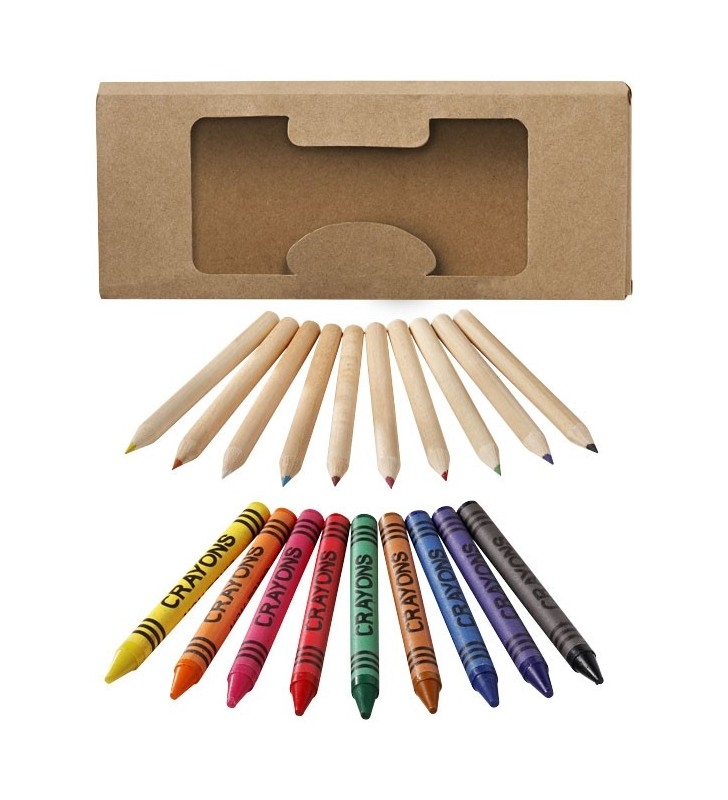 Set crayons et crayons gras 19 pièces