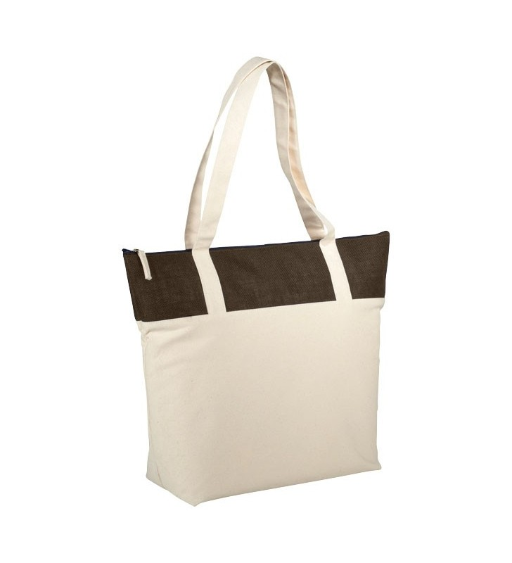 Shopper con zip in Juta e cotone