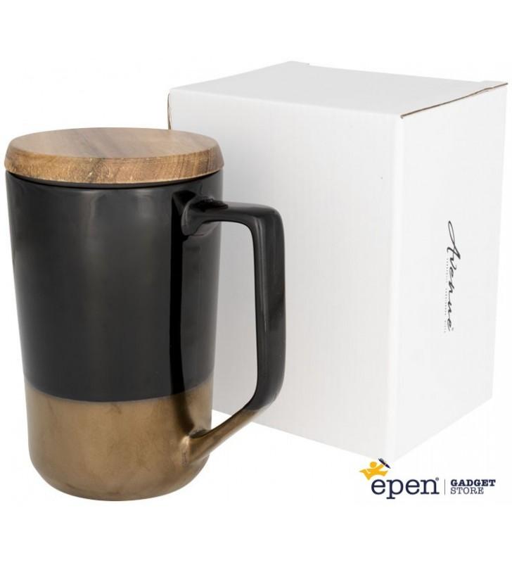 Tazza Tahoe da tè o caffè in ceramica con coperchio in legno