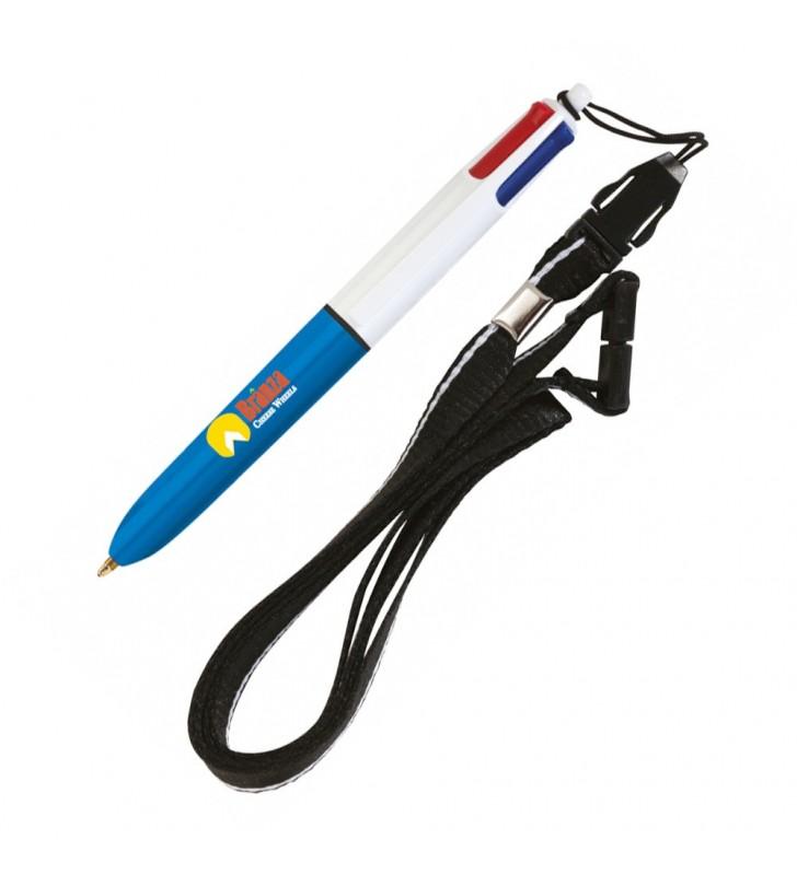 Penna BIC 4 Colori mini con Lanyard personalizzata