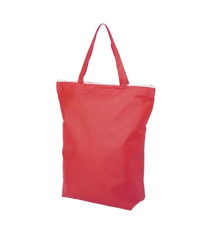 Shopper in tessuto non tessuto con manico corto e cerniera