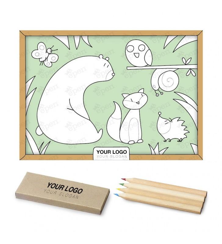 Kit Bambini Tovaglietta + Set colori a pastello 4 pezzi