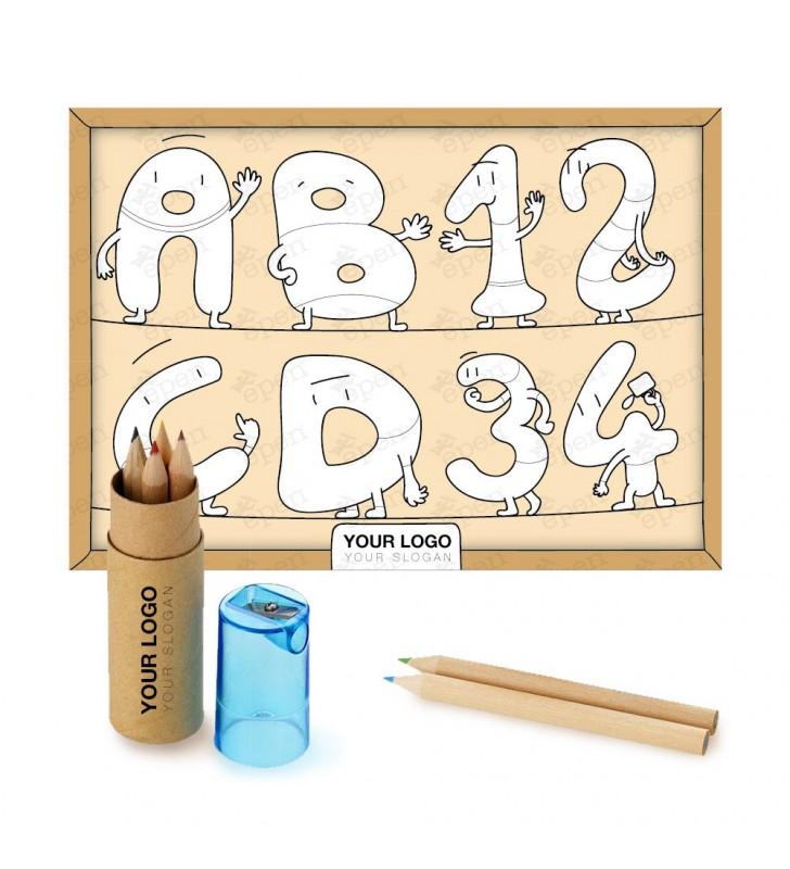 Kit Bambini Tovaglietta + Set colori 6 pezzi con temperamatite
