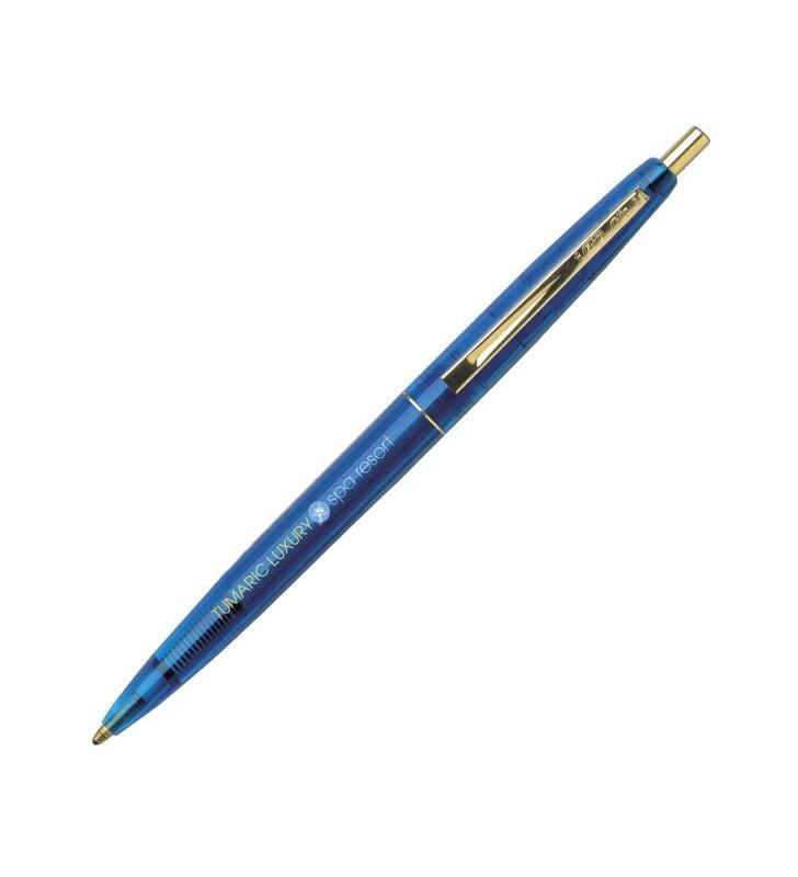 Personalisierter Kunststoff-Kugelschreiber BIC Clic Gold Clear ÖKOLOGISCH