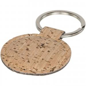 Porte-clés rond aspect liège.